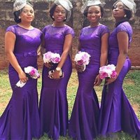 Plus Size Purple African Bridesmaid Dresses With Beaded Elegant Mermaid Satin Short Sleeve Wedding Guest Dress 2022 Maid Of Honor Gowns For Women
