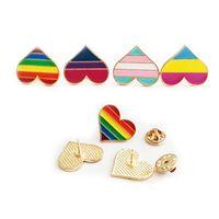 Arco-íris Cor Esmalte LGBT Broches para Mulheres Homens Gay Lésbica Pride Lapel Pins Badge Moda Jóias Em Bulk 306 T2