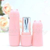 Tubo de brilho de alta qualidade de plástico rosa, DIY bonito dos desenhos animados Batom de gato vazio recipiente cosmético (50 pc / lote) alta quatity
