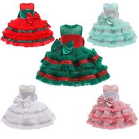 Girl's Dresses High Quality 1 2 3 4 5 Years Christmas Baby Girls Dress Mesh Big Bow Little Princess Cake Birthday Party Gift Kid Clothes