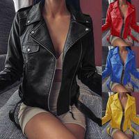 Mulheres frescas jaqueta de couro falso manga comprida zipper casaco de moda moto moto jaquete curto casaco curto outerwear