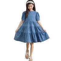 ビッグガールズティアレッドフリルデニムドレス子供背中のレースアップ弓半袖ジャンドレス夏の子供王女服Q0136