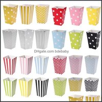 Gift Wrap Event Festive Supplies Home & Garden12Pcs Dot Wave Striped Paper Popcorn Boxes Candy Box Corn Bag For Christmas Wedding Party Birt