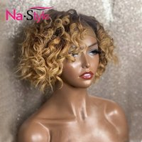 Lace Wigs 180% Ombre Honey Blonde Bob Wig Colored Brazilian Remy Curly Front Human Hair Frontal For Women T Part