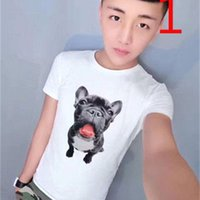2021 Yeni Net Kırmızı Aynı Paragraf Kısa kollu erkek Ince Eğilim Yarım Kollu Köpek Kafası T-shirt S2E6