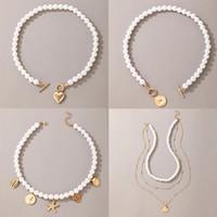 Collana pendente per perle di perle per le donne Summer Summer Beach Star Catena Cuore Catena Choker Collane Bohemian Braccialetto Regalo gioielli