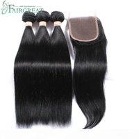 브라질 스트레이트 인간의 머리카락으로 폐쇄로 100 % 처리되지 않은 처녀 Huamn 헤어 짜다 3Bundles 레이스 폐쇄 자연 색상 도매 가격