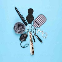 Women Self Defense Ring Keychain Portachiavi Donna Alarm Tactical Pen Personal Defence Key Chain Set Girls Gifts Armas