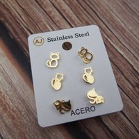 New Ear Studs Earrings Set Cat Kitten Hollow-Out Steel Mini Gold Metal Charming Retro Trendy Cute Sweet Vogue Gift Girl Party 3 Pairs Young Pretty Lovely School T2010