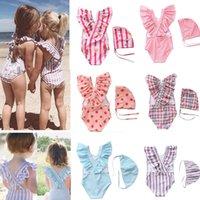 18 estilos toddler meninas meninas swimwear um pedaço de banho meninas com chapéu crianças swimwear crianças praia desgaste meninas maiô