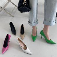 Dress Shoes 2021 Luxury Women 8cm High Heels Pumps Scarpins Office Ladies Designer White Green Black Prom Stiletto Party