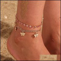 Jewelryrhinestone Crystal Ankle Bracelets For Women Sandals Butterfly Anklet Boho Beach Foot Iced Out Chains Anklets Female Fashion 156 O2 D