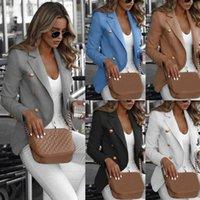 Frauenjacke Casual Work Slim Mantel Langarm Outwear Womens Anzug Damen Top mit Knopf Grau Schwarz Weiß Hellblau