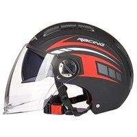 Capacetes de motocicleta vermelho capacete preto cara aberta motociclista equitação dupla lente scooter motorcross moto choque para homens