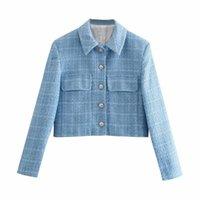 Fatos femininos blazers puwd elegante mulheres azul lapela Única jaqueta de breasted 2021 primavera moda senhoras Inglaterra estilo textura feminina curta b
