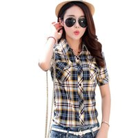 Brand New 2021 Summer Style Plaid Stampa Stampa a maniche corte Camicie da donna Plus Size Camicette Casual 100% Cotton Tops BlusAS 14 colori