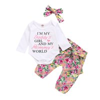 Infant Girls Floral Sets Kids Letter Baby Rompers Ruffle Tops Kids Flower Dot Trousers Strap Dress Toddler Baby Clothes With Headband 060808