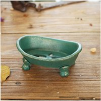 Soap Dishes Gold Green Footed Boat Cast Iron Holder Handmade Home Garden Decor Heavy Metal Storage Tray Antique Shape Plate