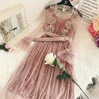 Günlük Elbiseler Kadın Elbise Yaz Sonbahar Çiçek Nakış Örgü Dantel Yüksek Bel Vual Kadife Kadın Uzun Kollu Vestidos SF1185