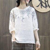 FJE Yaz Tarzı Kadınlar Tshirt Artı Boyutu Yarım Kollu Gevşek Vintage Nakış Tee Gömlek Femme Pamuk Keten Tişörtleri Büyük Tops Mgz2 210302