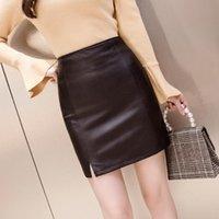 Юбки ocqbi Империя Кожа над колено женская PU юбка Zip Slim Sexy Reading Vintage Pure Color женщины 2021