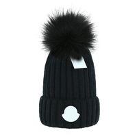 2021 Dorośli Gruby Ciepły Kapelusz Zimowy Dla Kobiet Soft Stretch Cable Knitted Pom Poms Czapki Kapelusze Kobiet Skullies Czapki Dziewczyna Kapy Narciarskie Czapki
