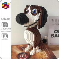 PZX 686-01 PZX 686-01 Animale del fumetto del fumetto Beagle Hound Dog SIT PET MODELLO DIY Mini Blocchi Diamante Blocchi Mattoni Building Toy for Children No Box H0824