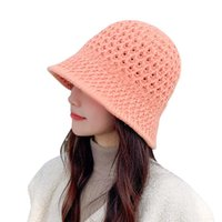 Wide Brim Hats Sparsil Autumn Winter Hollow Knit Bucket Hat Woman Solid Acrylic Panama Female Outdoor Warm Dome Fishing Cap Fisherman