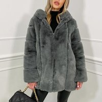 Women's Fur & Faux Berry Fashion Winter Thick Casual Coats Women Elegant Loose Solid Hooded Jackets Zipper Ladies