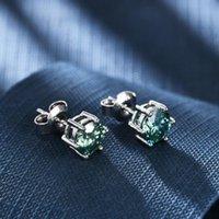 Brincos de balé de gema para estudar 925 prata esterlina de alta qualidade Ear Studs Piercing Brinco Body Acessórios 1ct Green Moissanite