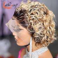 Lace Wigs Ombre Honey Blonde Frontal Pixie Short Cut Bob Human Hair Kinky Curly Pre Plucked Woman Front Bleached Knots