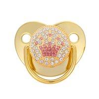 Baby Pacifiers Gold Rhinestone Diamond Tehher Newborn Зубы Практика Игрушки Питание Pacifier Clip Infant Nipple B7294