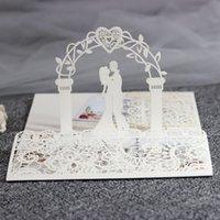 2021 Tarjetas de invitación de la boda de la novia y el novio de la impresión 3D de la impresión DIY Invitaciones de compromiso floral