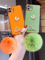Cajas de teléfono galvanal de lujo Bling Diamond Funda de bolas de piel para iPhone 12 PRO 11 PROMAX X XR XSMAX 7 8 Plus