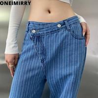 Женские джинсы Джинсы Одноимирри Подходит высота 160 см -180см Высокая талия для женщин Нерегулярные моды Широкие ноги Джинсовые штаны женские Harajuku брюки