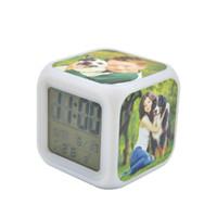 열 전송 7 색 빈 승화 알람 시계 LED 스퀘어 침실 광선 전자 테이블 시계 광장 침실 시계 LLA333