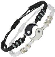 Tai Chi Yin Yang Couple Bracelets Alloy Pendant Adjustable Braid Chain Bracelet Necklace Matching Lover Necklaces
