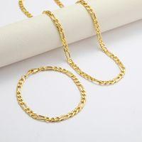 Großhandel Figaro Kubanische Gliederkette Halskette Armband Sets 14K echte massive Goldgefüllte Kupfer Mode Männer Frauen Schmuck Zubehör 22 T2