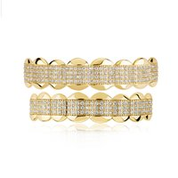 18K Gold Plated Iced Out Cubic Zirconia Grillz Brace Punk Hip Hop Up Bottom Dental Mouth Fang Grills Vampire Tooth Cap Cosplay Rap Jewelry