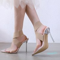 Plus size 35 to 40 41 42 elastic band cross strap nude transparent PVC clear high heels luxury women designer shoes Come 5774