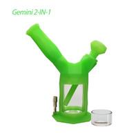 Waxmaid all'ingrosso Narghilè Gemini Gemelli 7.28 pollici 2-in-1 Kit DAB Tubo DAB Nettare Collector Collector Tubi per acqua in vetro Spedizioni da Ca Warehouse