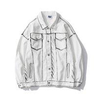 Pockets Patchwork Revers White Herfst Jeans Jassen Heren Oversize Wassen Streetwear Paar Denim Jas