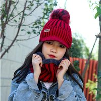 Hats, Scarves & Gloves Sets Warm Fleece Scarf Snood Hat 2pcs Fashion Winter Set Women's Knitted With Brim Wool Pompom Cap Ring Balaclava