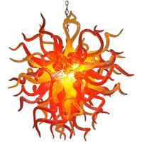 Pendant Lamps LED Ceiling Light 110-240V Orange Yellow Color Round Hand Made Blown Glass Modern Chandelier Lighting 24 Inches