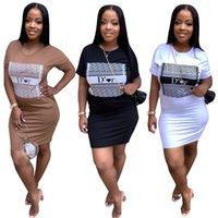 Sommer Rundhalsausschnitt Frauen Kleid Frauen Langer Pullover T-Shirt Rock Mode Designer Sexy Beiläufige Bedruckte Kurzarm Kleider Kleidung JH 181