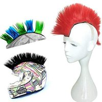 Motorcycle Helmets 2021 Bicycle Universal Synthetic Wigs Helmet Hawks Mohawk Reusable Accessories Outdoor Hair Sticker On Solid