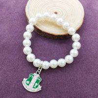 Beaded, Strands Handmade Greek Sorority Elastic Line White Pearl Shield Letter Charm Pendant Bracelet Women Jewelry Top Sellers 2021 For Ama