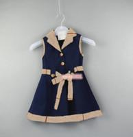 새로운 공주 여자 드레스 활 코튼 2021 여름 아기 옷 옷깃 민소매 어린이 파티 드레스 소녀