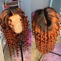 Lace Wigs XUMOO Deep Loose Wave Ombre Orange Front With Dark Roots Cuticle Aligned Brazilian Virgin Human Hair For Black Women
