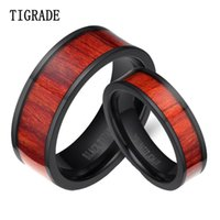 Wedding Rings Tigrade 2pcs Lot Unique Couple Wood Inlay Flat Vintage Titanium Ring Men Women Wooden Band Engagement For Lover